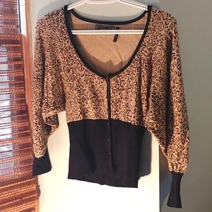 Guess leopard + black accent sweater